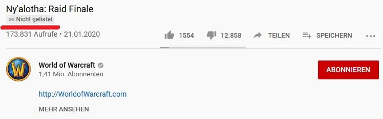 WoW Video Nzoth nicht gelistet