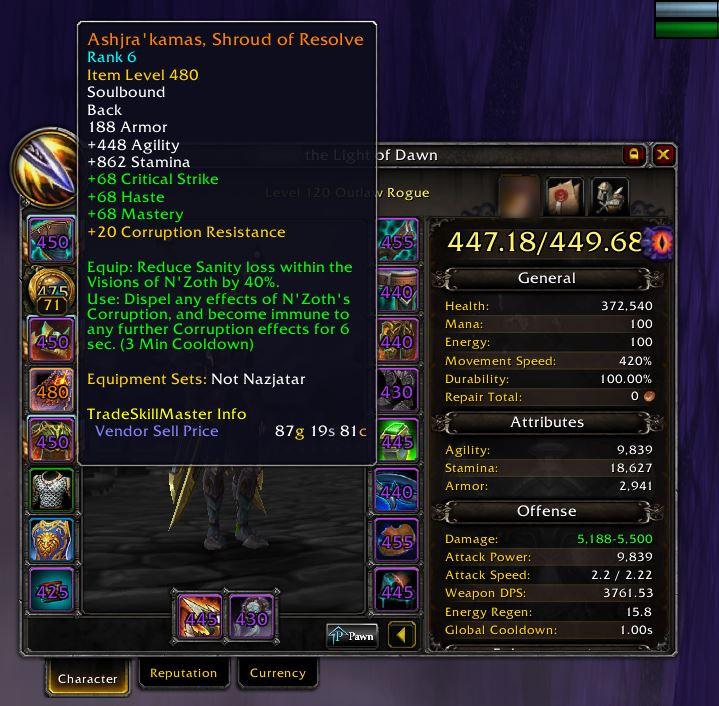 World of Warcraft legendärer Umhang BFA