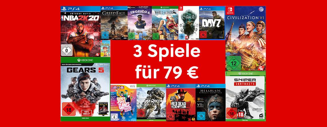MediaMarkt 3 für 79€-Angebot: 3 Spiele kaufen, nur 79 Euro bezahlen