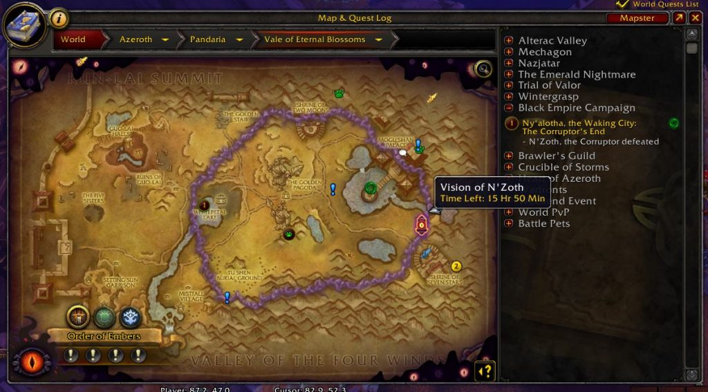 world of warcraft vision von nzoth auf Karte