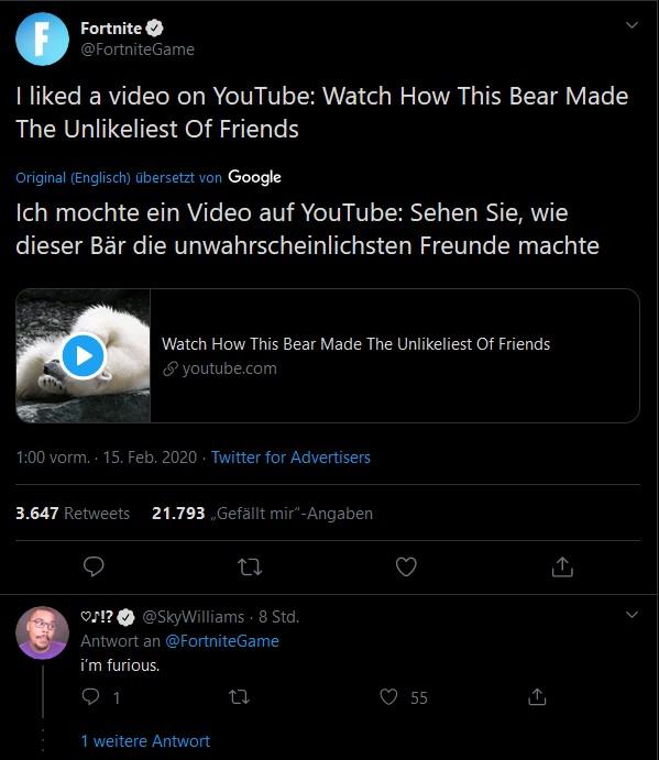 Fortnite Rickroll Twitter Reaktion