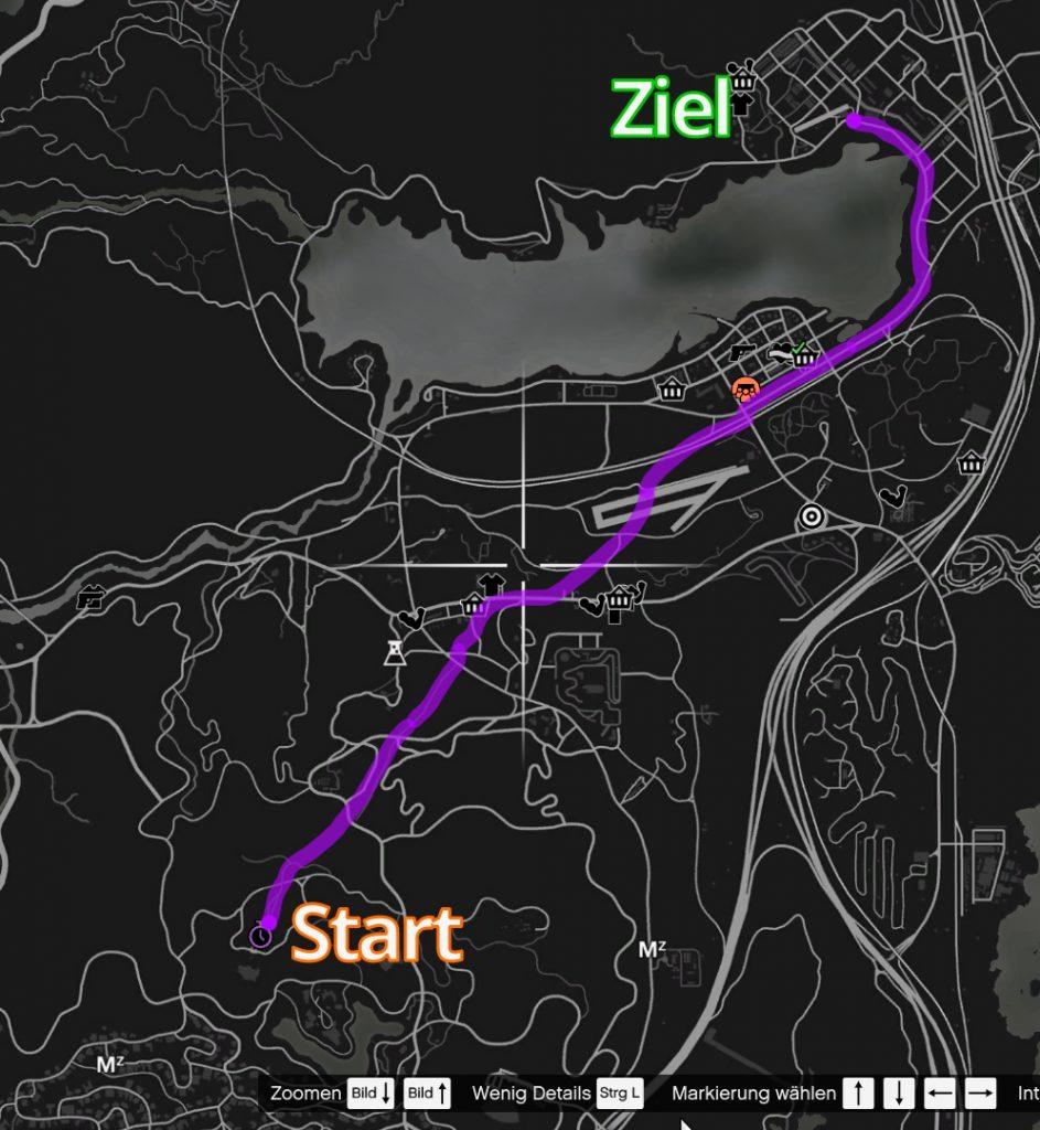 GTA Online Observatorium Zeitrennen Guide Streckenverlauf