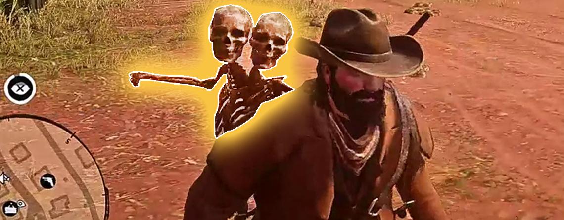 Spieler in Red Dead Online werden von 2-köpfigen Skeletten verprügelt