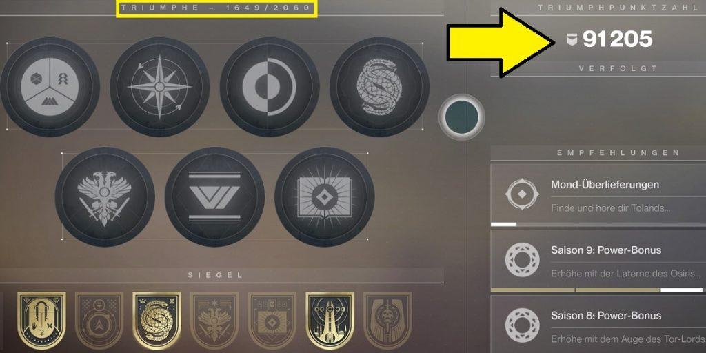 Triumphe Score Destiny 2