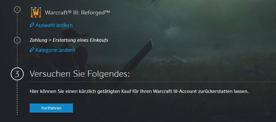 Warcraft 3 Refund prompt