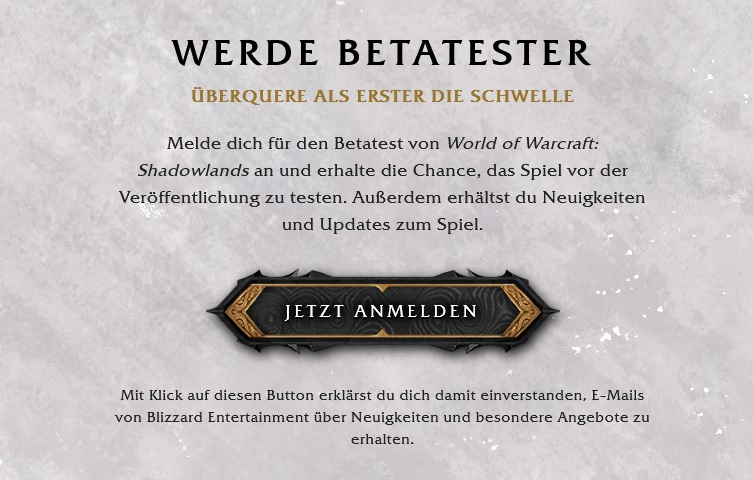 WoW Shadowlands Beta Anmeldung