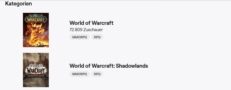 WoW Shadowlands Twitch Category