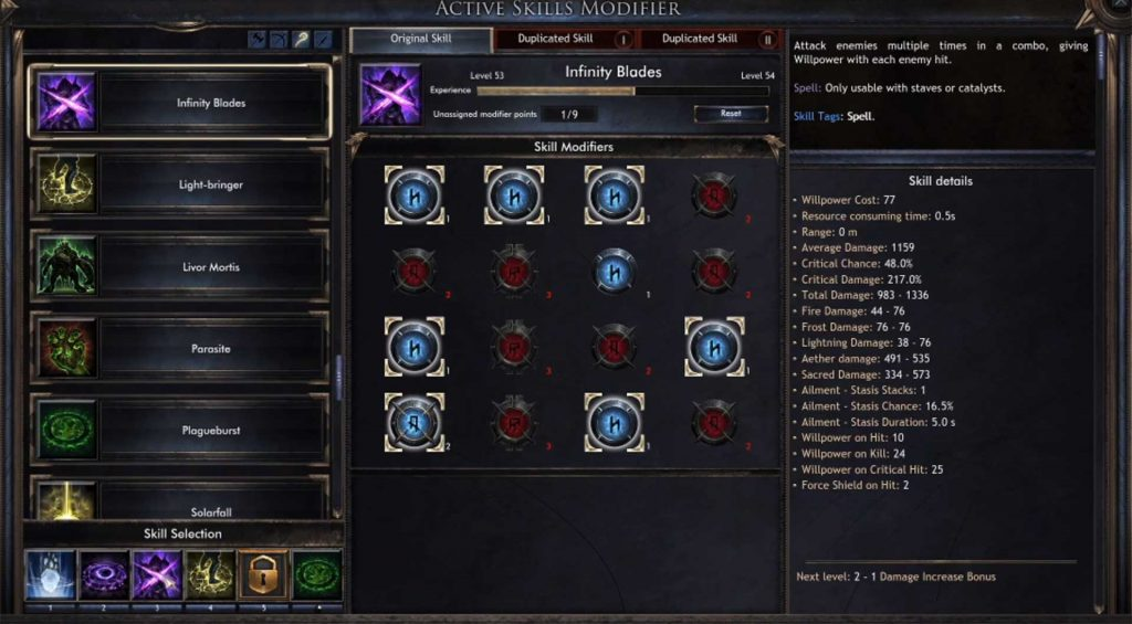 Wolcen-Infinity-Blades-Modifikationen