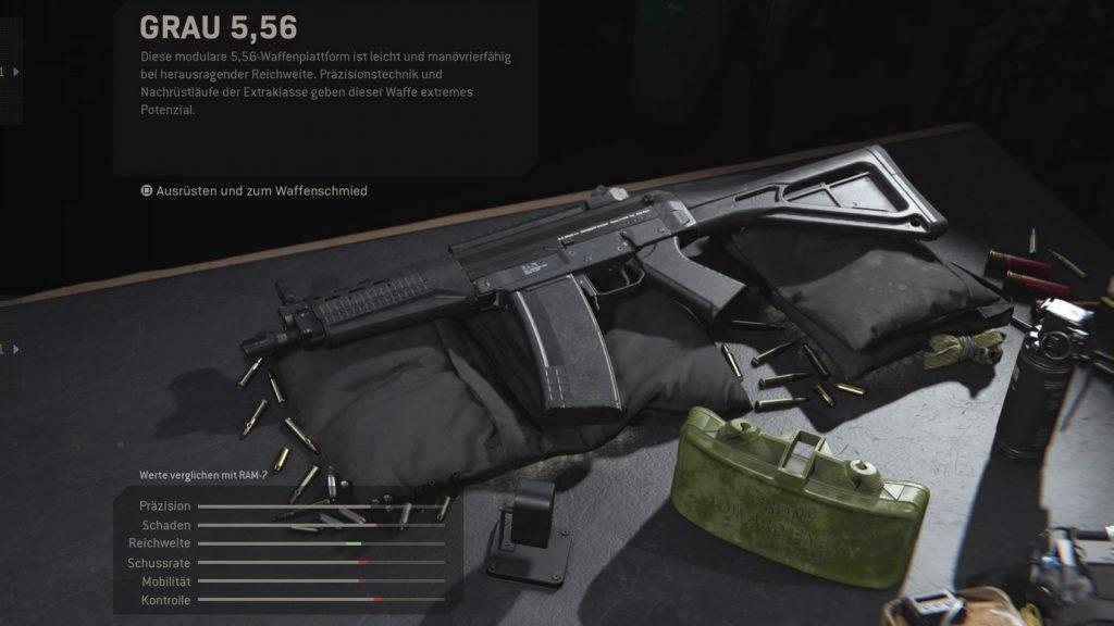 cod modern warfare waffen setups grau 556 vergleich ram 7