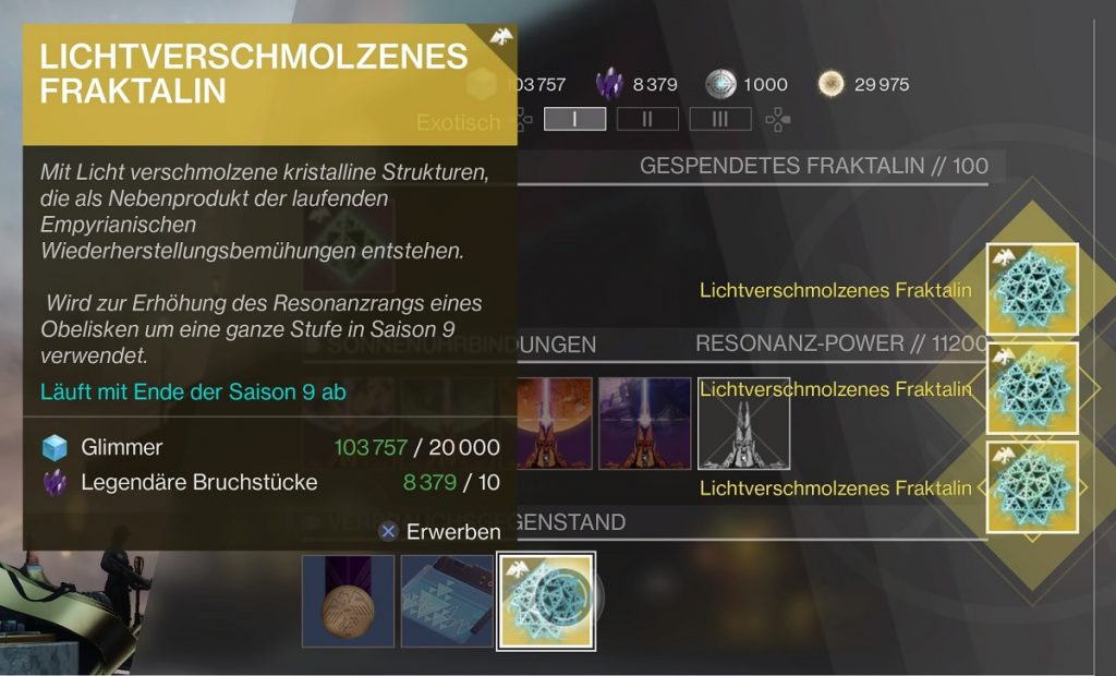 Lichtverschmolzenes Fraktalin Destiny