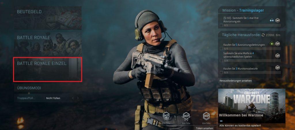 Call fo Duty Modern Warfare Warzone Solo Modus
