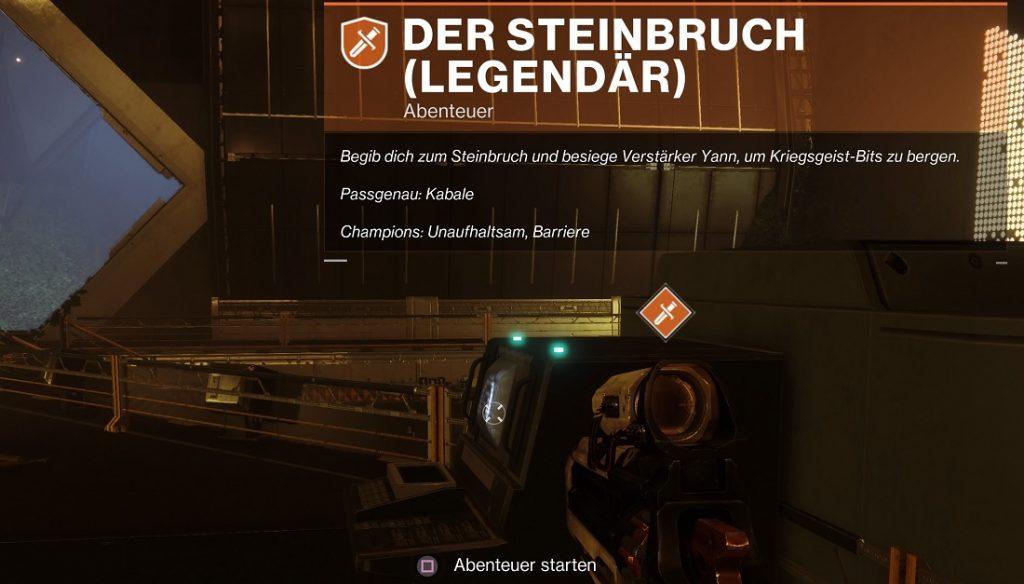 Verlorener Sektor Steinbruch Destiny 2