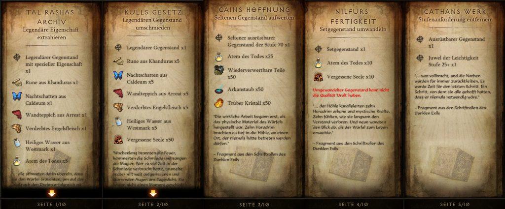 Diablo 3 Kanais Würfel Rezepte 1 von 2