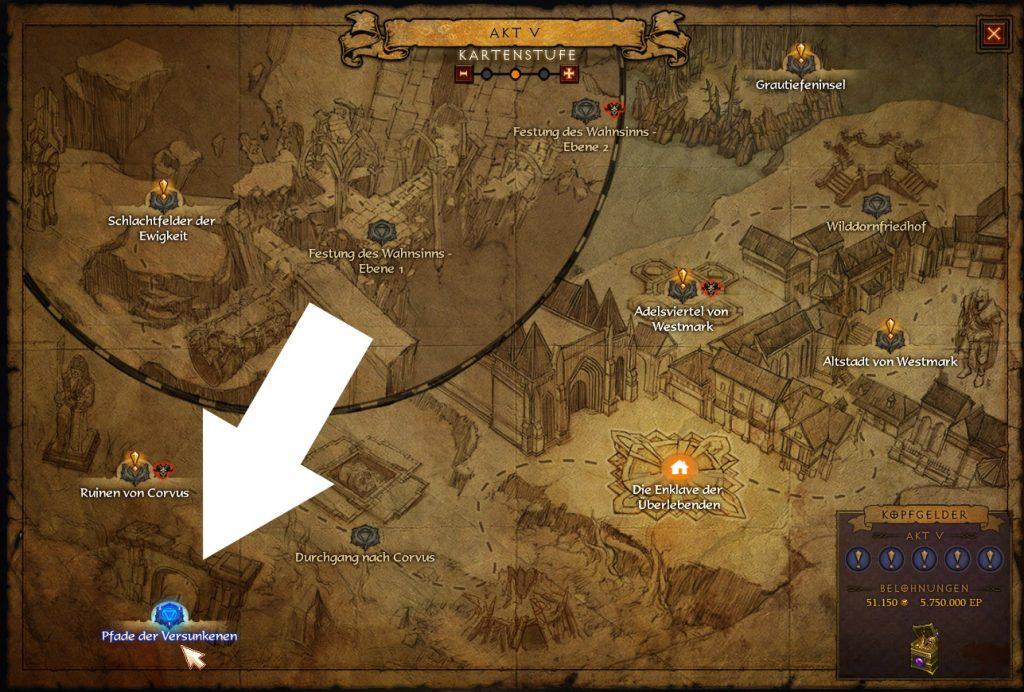 Diablo 3 Wegpunkt Pfade der Versunkenen
