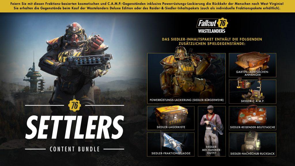 Fallout76-Wastelanders Siedler Paket