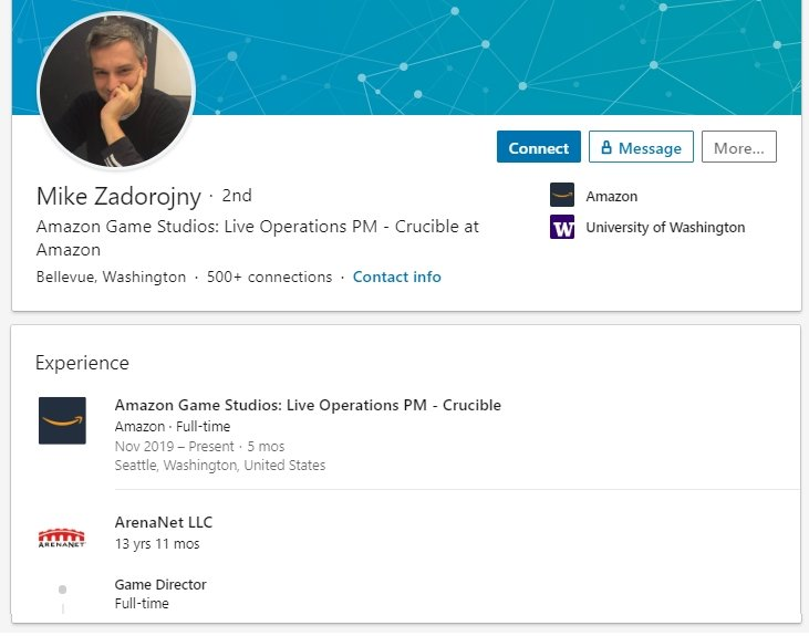 Guild Wars 2 Mike Z Game Director LinkedIn