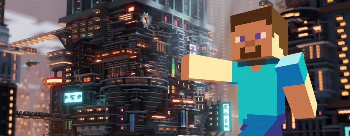 Screenshot wirkt, als wär er aus Cyberpunk 2077, ist aber aus Minecraft