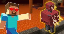 Minecraft Strider Steve hearts in eye titel 1140x445