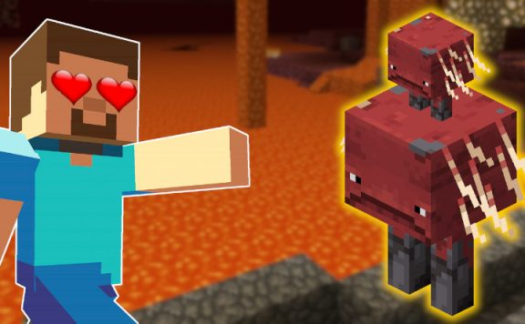 Minecraft Strider Steve hearts in eye titel 1140x445