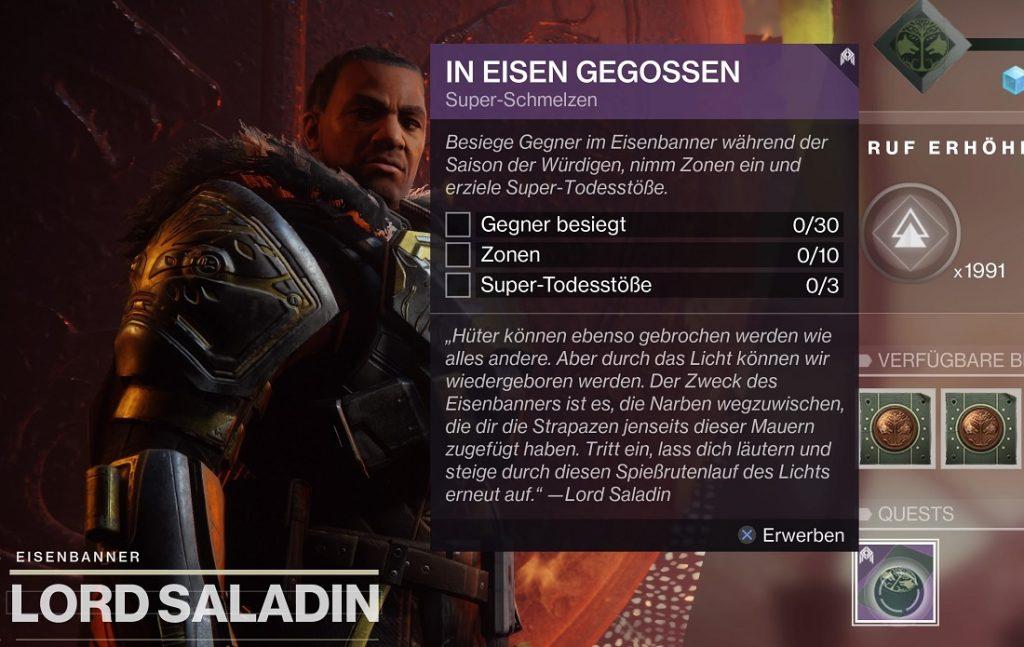 Saladin eisenbanner Quest Destiny 2
