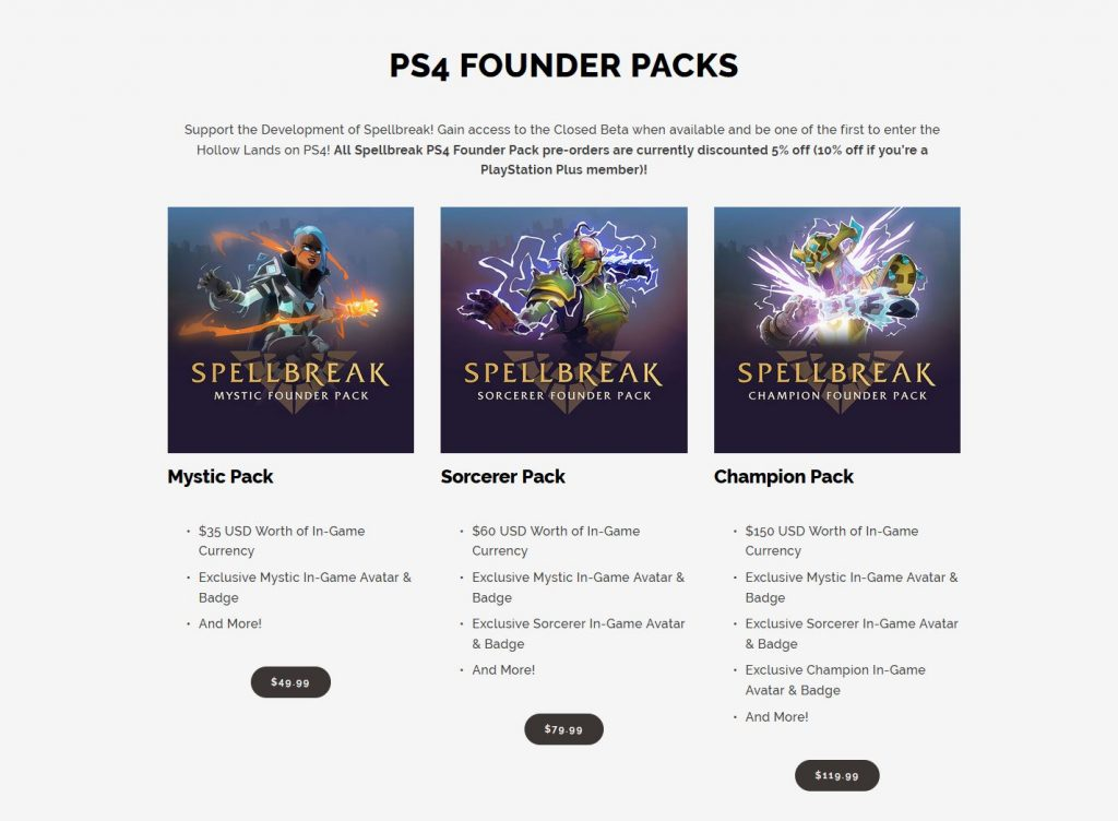 Spellbreak Founder Packs