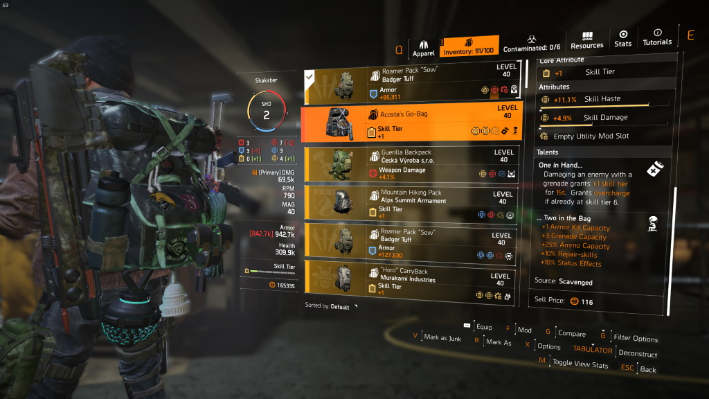 Acostas's Go-Bag Exotic The Division 2