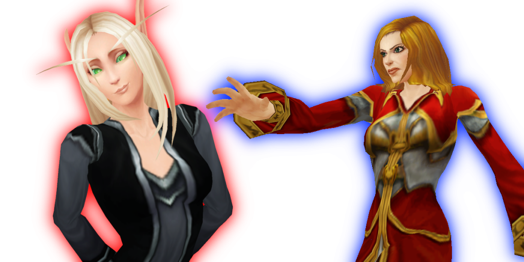 WoW Human Mage Female Blood Elf Priest Female trans