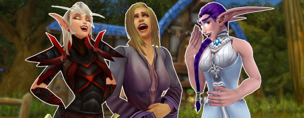 WoW Night Elf Blood Elf human female laughing title 1140x445