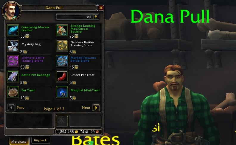 WoW Pet Guide Dana Pull NPC Trader