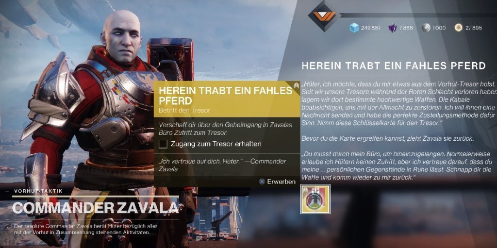 Zavala Quest vierte Reiter Destiny 2