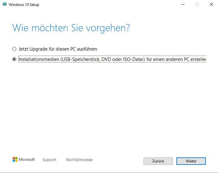 Windows installieren Installationsmedium