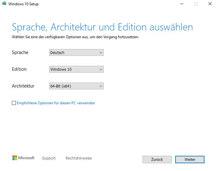 Windows installieren - Sprache und Architektur
