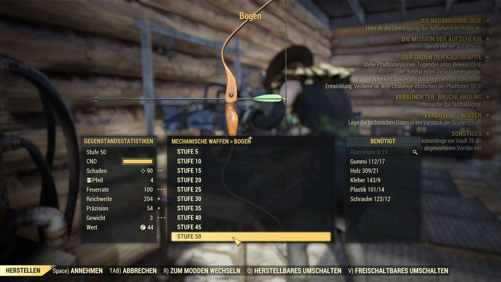 Fallout 76 Bogen Werkbank