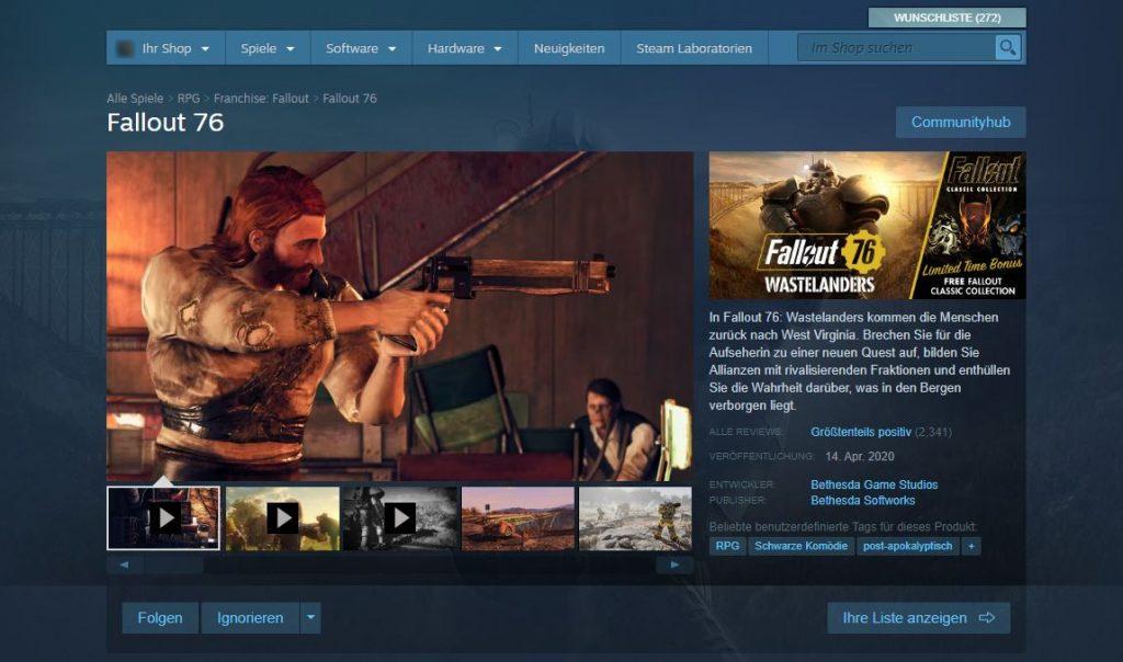 Fallout 76 Steam 23 April