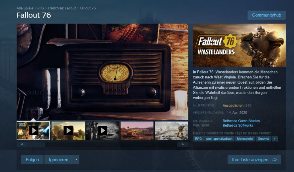 Fallout 76 Wastelanders Steam Shopseite