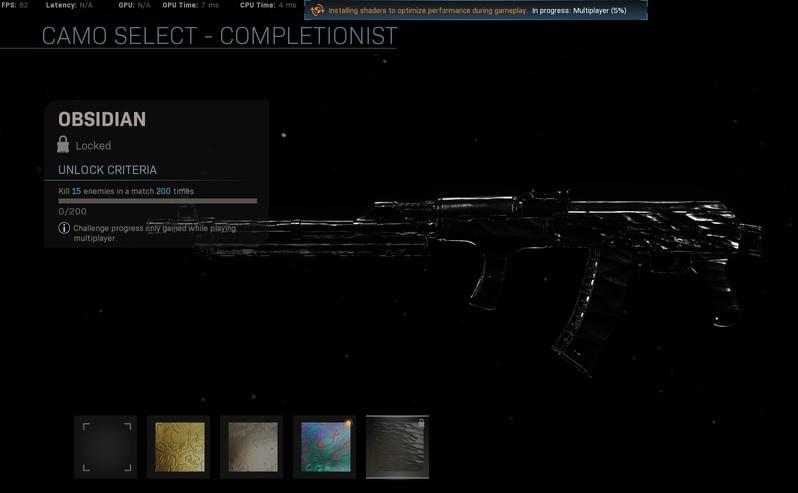 Obsidian Master Camo CoD Warzone Modern Warfare