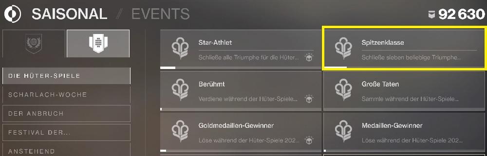 Triumphe Hüter-Spiele 2020 Destiny 2