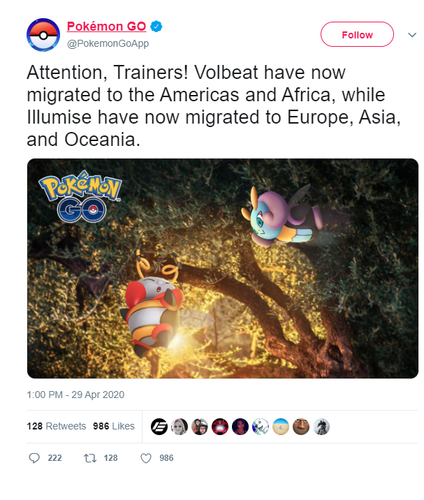 Tweet Pokemon GO gelöscht Illumise Volbeat