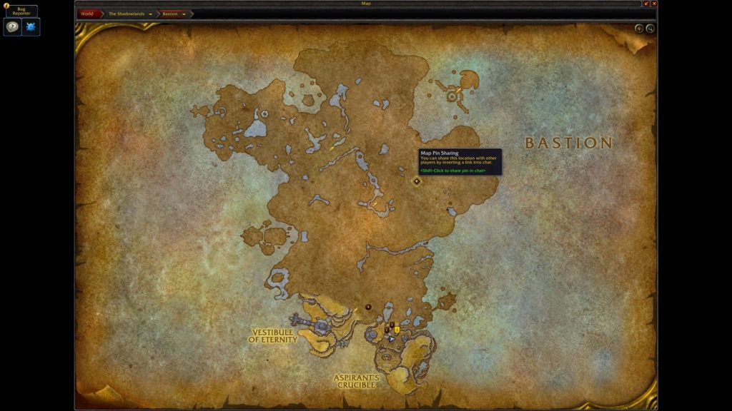 WoW Shadowlands Screenshot map pin