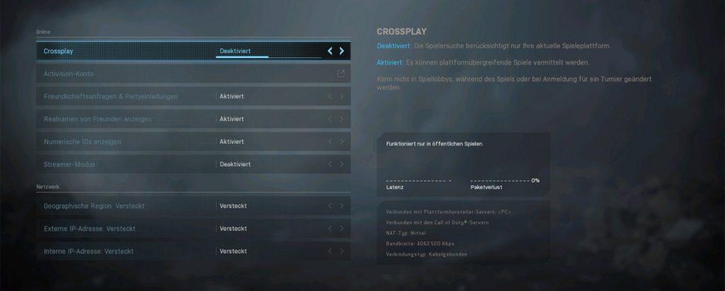 cod modern warfare warzone crossplay deaktivieren menü
