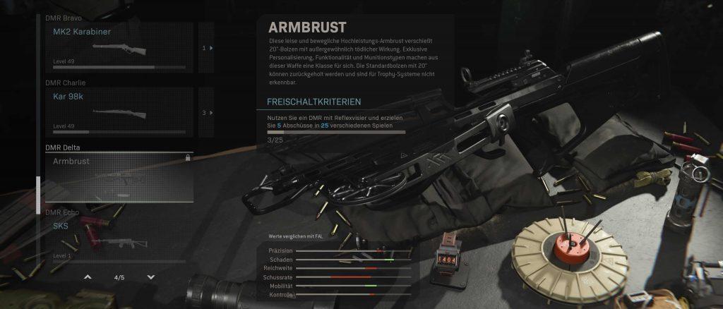 cod modern warfare warzone waffen armbrust challenge