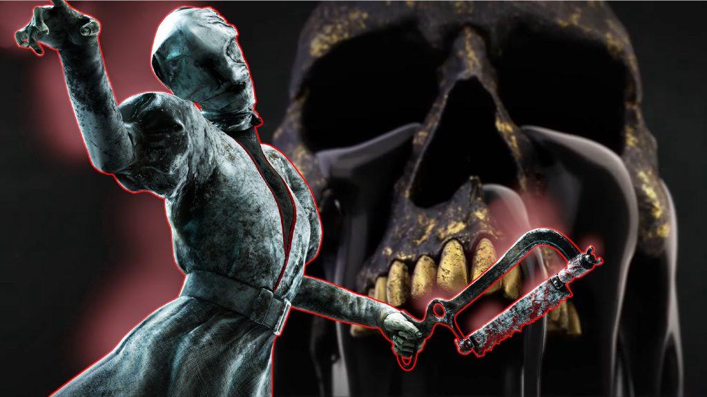 Dead by Daylight Nurse infront of black skull title 1920x1080