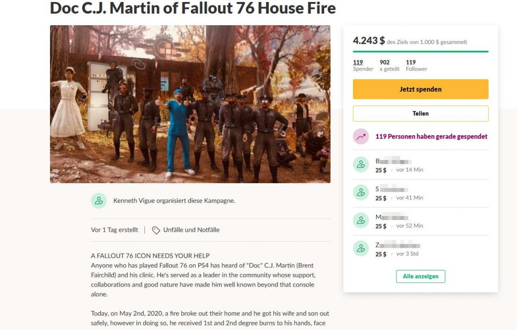 Fallout 76 Feuer GoFundMe