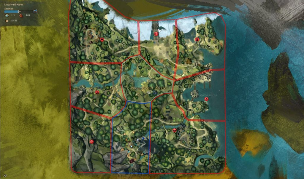 Guild Wars 2 Nieselwald Küste Map Karte