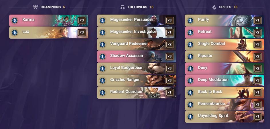 Legends of Runeterra deck Karma Lux