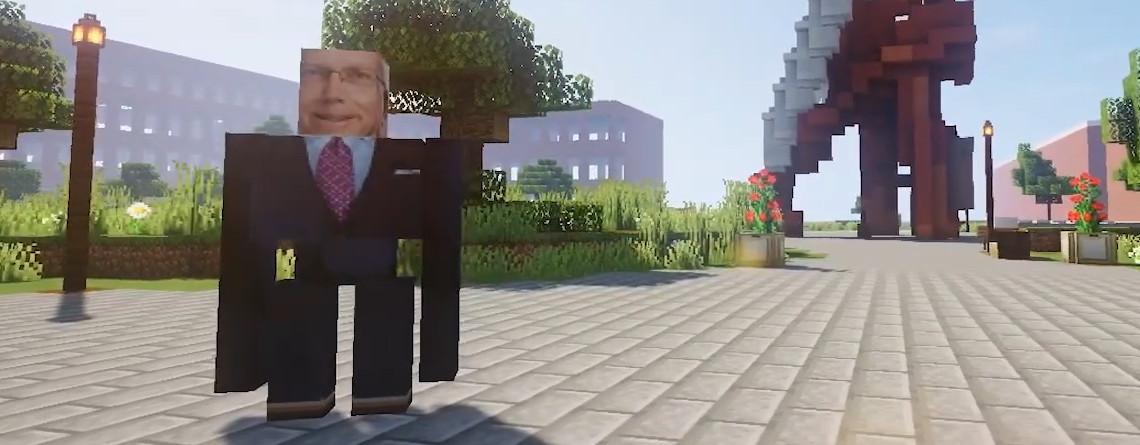 Minecraft: Studenten feiern Abschluss, ein Eisengolem verteilt Zeugnisse