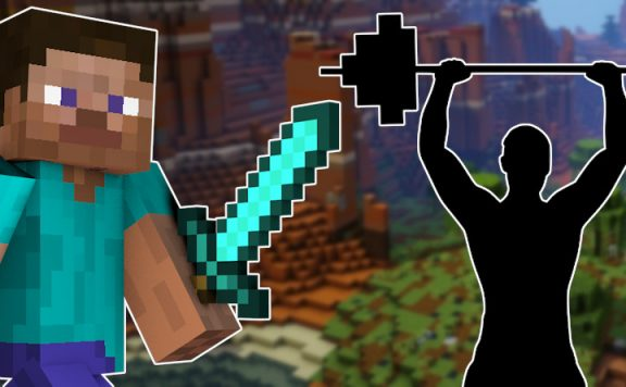 Minecraft Steve with sword weight lifter titel title 1140x445