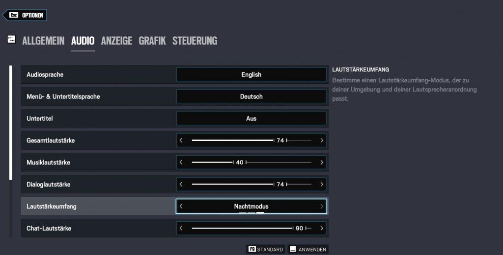 Rainbow Six Siege Sound Optionen