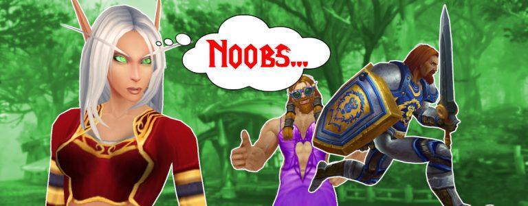 WoW Blood Elf mad noobs human running titel title 1140×445