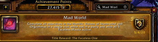WoW Mad World Achievement